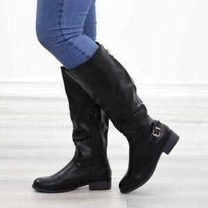 Rider Chick Mid Calf Boots Gold Buckle & Zipper
